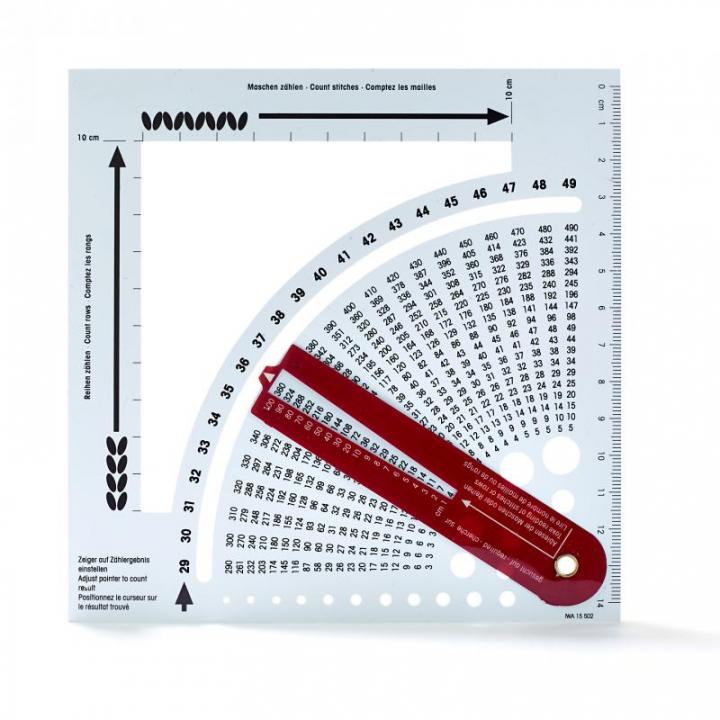 Calculadora de tricot com régua e medidor de espessura das agulhas 611735