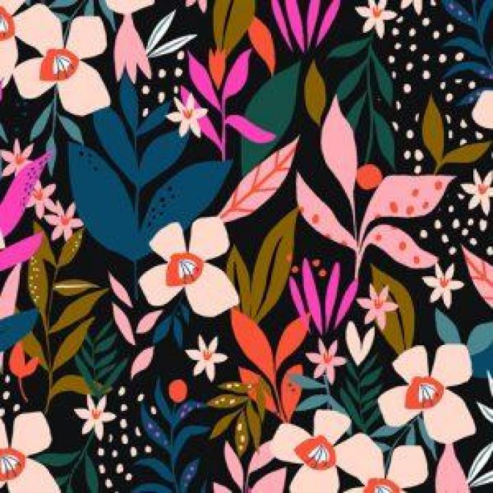Tecido de Rayon fundo preto padrão floral