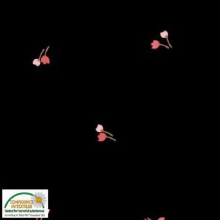 Tecido Viscose Estampado Preto com Flores Vermelhas e Rosa