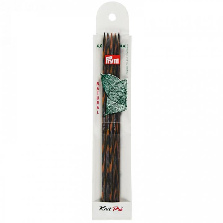 Conjunto de 5 agulhas de tricot de ponta dupla, natural, 15cm, 3.5 mm 223123