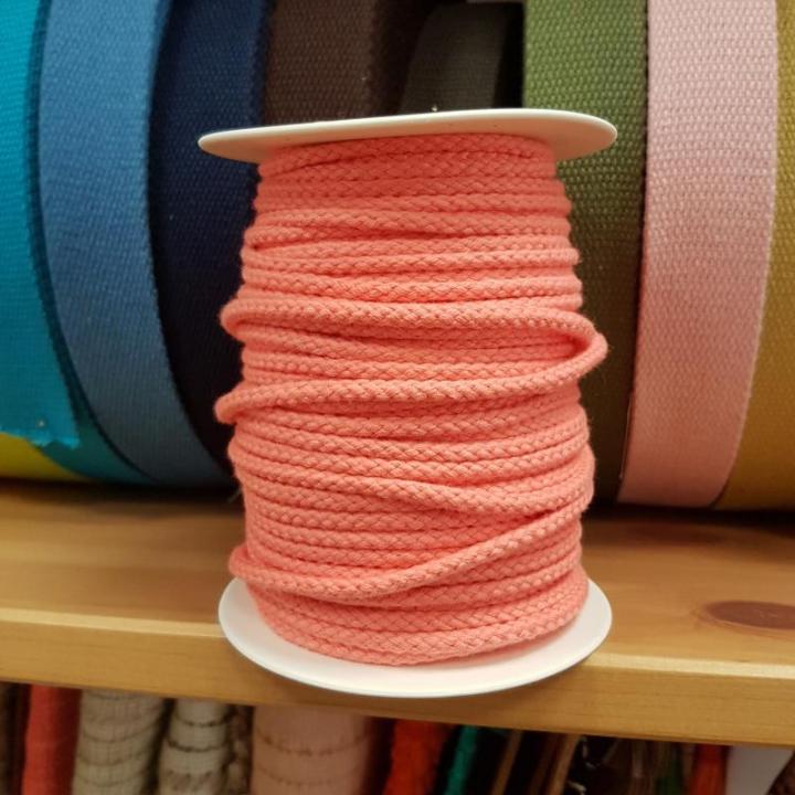 Cordão de Algodão Entrelaçado cor Coral 4mm