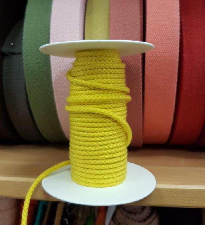 Cordão de Algodão Entrelaçado cor Amarelo 4mm