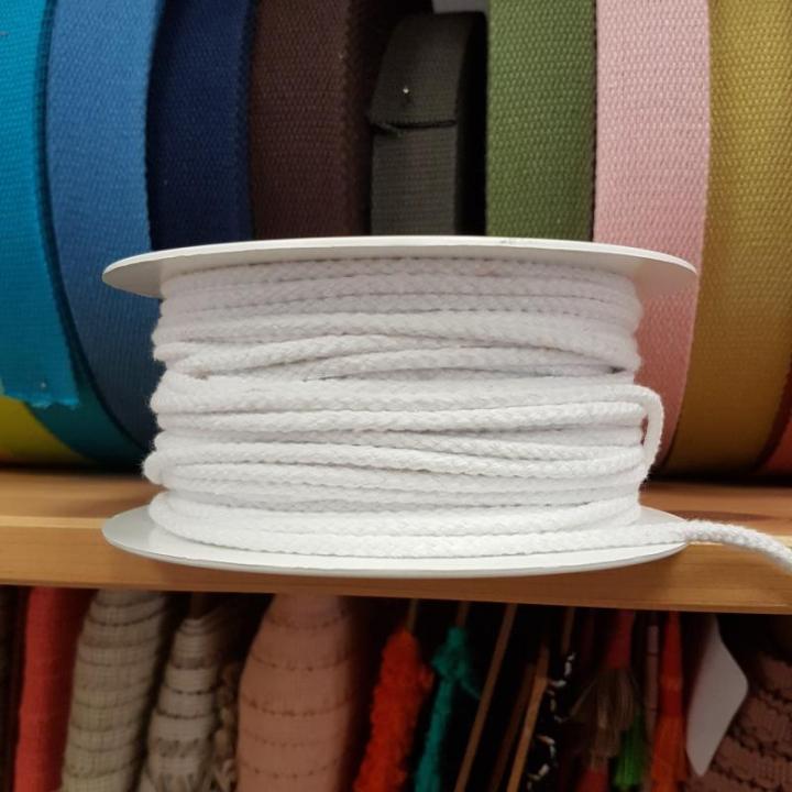Cordão de Algodão Entrelaçado cor Branco 4mm