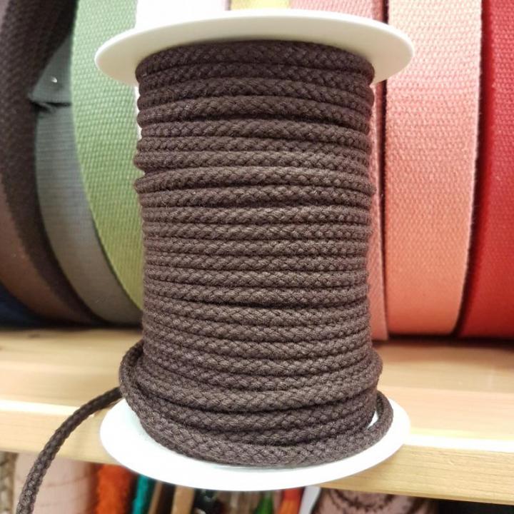 Cordão de Algodão Entrelaçado cor Castanho 4mm