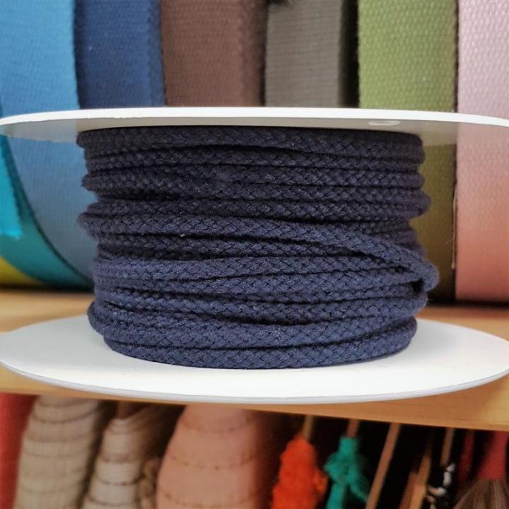 Cordão de Algodão Entrelaçado cor Azul Escuro 4mm