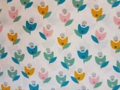 Tecido 100% algodão DWS- CONF 1238 Cream Flower