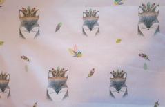 Tecido Plastificado  135cm Foz on Pink - raposas KAT-W6-FOX