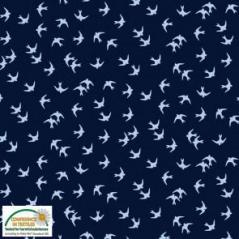 Tecido Azul Escuro com Andorinhas
