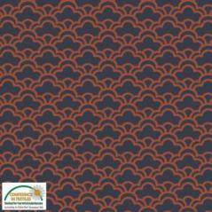 Tecido Viscose estampado preto e laranja
