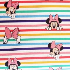 Tecido 100% Algodão - Minnie Riscas Coloridas