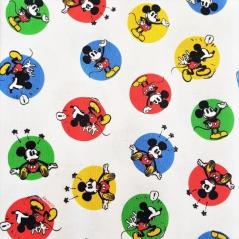 Tecido 100% Algodão - Mickey com bolas coloridas em fundo branco (Disney)