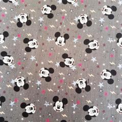 Tecido 100% Algodão - Mickey com fundo cinza (Disney)