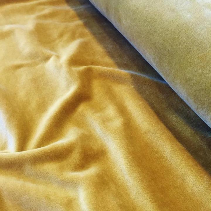 Tecido Jersey de Veludo - Mostarda