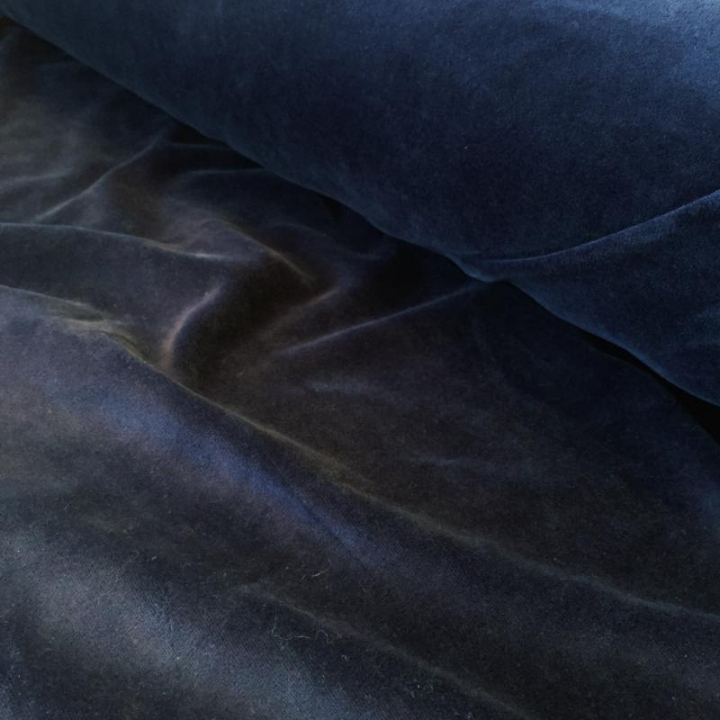 Tecido Jersey de Veludo - Azul Escuro