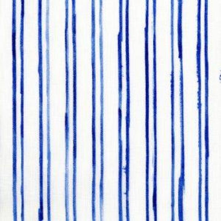 Tecido de Cânhamo Nani Iro riscas azuis sobre fundo branco