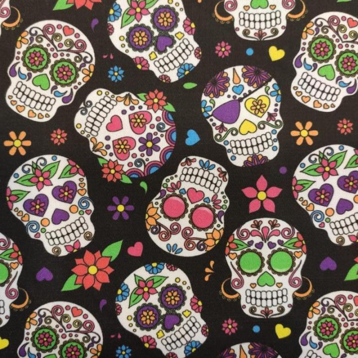 Tecido 100% algodão - Caveiras Mexicanas Dia dos Mortos Preto