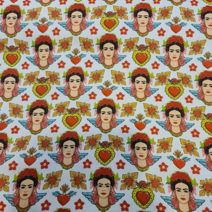 Tecido 100% algodão - Frida Kahlo Asas & Corações
