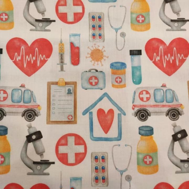 Tecido 100% algodão - Medicina & Saúde