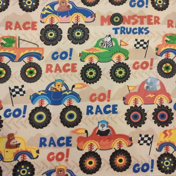 Tecido 100% algodão - Go Race! Monster Cars Animais