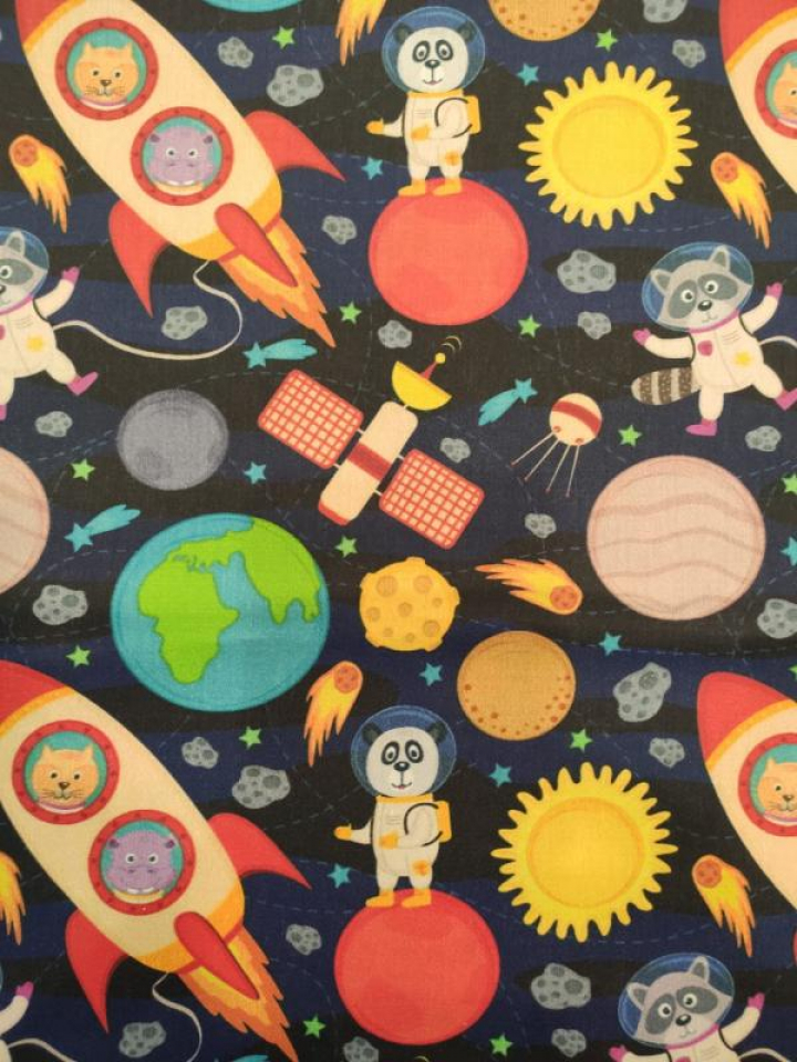 Tecido 100% algodão - Espaço Animais Astronautas Multicor & Azul