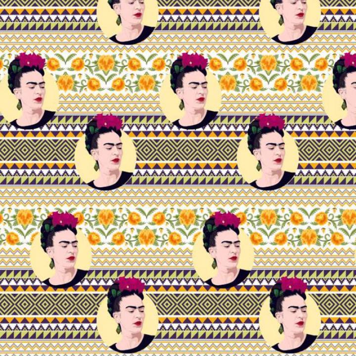 Tecido 100% algodão - Frida Kahlo Riscas Padrões Étnicos Multicor
