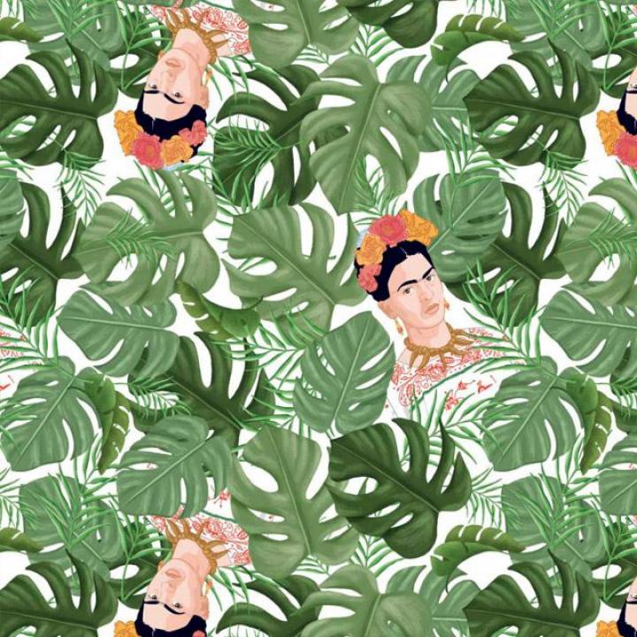 Tecido 100% algodão - Frida Kahlo Trópico Costelas-de-Adão Branco